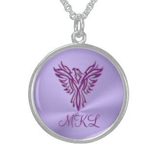 Custom initials - Purple Phoenix Rising on Lilac Sterling Silver Necklace