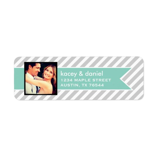 Custom Instagram Photo and Preppy Stripes Return Address Label