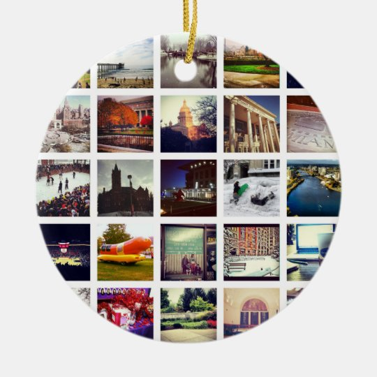 Custom Instagram Photo Collage Ceramic Ornament