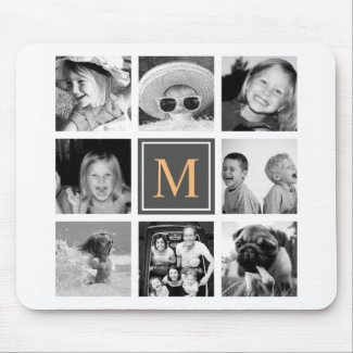 Photo Collage Monogram Mouse Mat