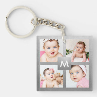 Custom Instagram Photo Collage Silver Monogram Key Ring