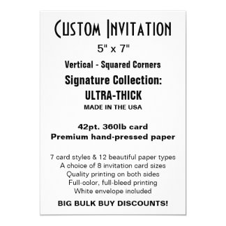 "Custom Invitation 5"" x 7"" ULTRA-THICK"