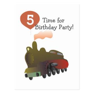 Custom Invitation Birthday Postcard Train