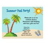 Custom Invitation, Summer Pool Party Theme Or