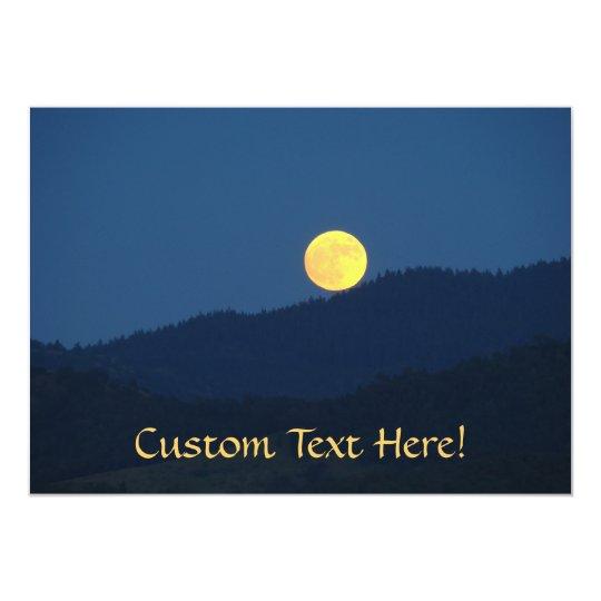 Custom Invitations Orange Full Moon Blue Twilight