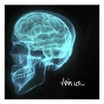 CUSTOM INVITES - Blue Neon Side View X-ray Skull