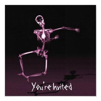 "CUSTOM INVITES - X-Ray Skeleton Joy Leap - Pink 5.25"" Square Invitation Card"