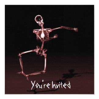 "CUSTOM INVITES - X-Ray Skeleton Joy Leap - Red 5.25"" Square Invitation Card"