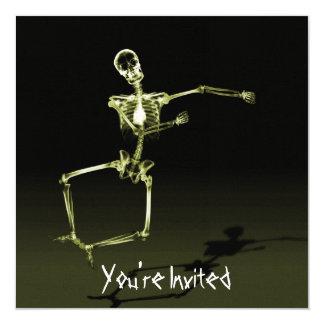 "CUSTOM INVITES - X-Ray Skeleton Joy Leap - Yellow 5.25"" Square Invitation Card"