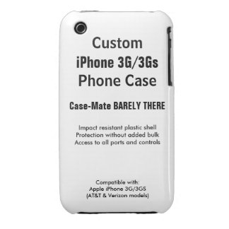 Custom iPhone 3G / 3Gs Barely There Phone Case iPhone 3 Case-Mate Cases