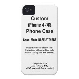 Custom iPhone 4 / 4S Barely There Phone Case iPhone 4 Case-Mate Cases