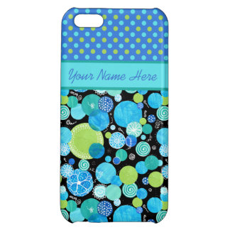 Custom iPhone 5C Case, Blue Moons Quirky and Polka Case For iPhone 5C