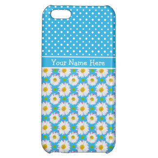 Custom iPhone 5c Savvy Case: Polkas, Daisies, Blue Case For iPhone 5C