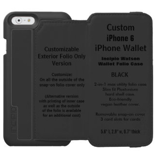 Custom iPhone 6 Watson™ Wallet Folio Case BLACK Incipio Watson™ iPhone 6 Wallet Case