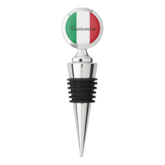 Custom Italian flag chrome wine bottle stopper