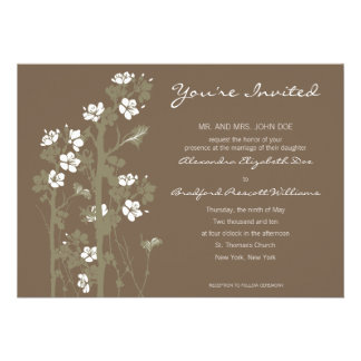 Custom Japanese Floral Wedding Invitation brown
