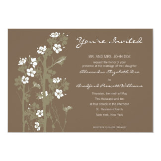 "Custom Japanese Floral Wedding Invitation :: brown 5"" X 7"" Invitation Card"