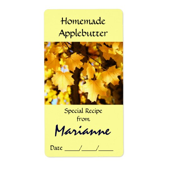 Custom Jar Labels Special Recipe from Your Name