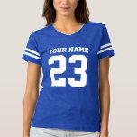 Custom jersey number blue womens football t shirt
