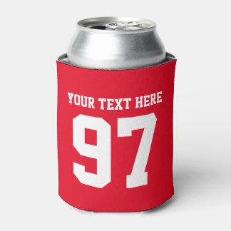Custom jersey number can cooler | red beer holder