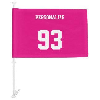 Custom jersey number car flag   neon pink
