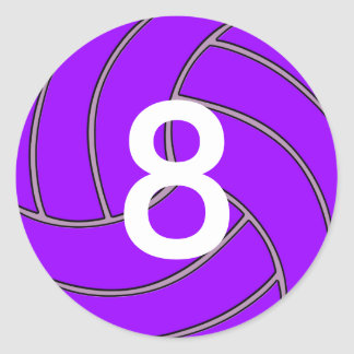 Custom Jersey Number Purple Volleyball Player/Team Classic Round Sticker