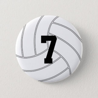 Custom Jersey Number Round Volleyball Button Pin