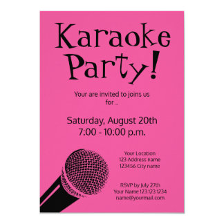 Custom karaoke party invitations with microphone