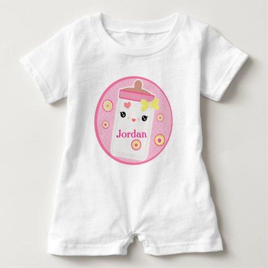 Custom Kawaii Baby Bottle Girl Baby Romper Baby Bodysuit