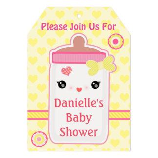 Custom Kawaii Bottle Baby Girl Shower Invitations