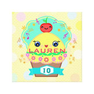 Custom Kawaii Cupcake Wrapped Canvas Stretched Canvas Print
