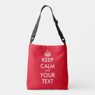 Custom keep calm and your text red cross body bags tote bag