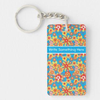 Custom Keychain: Ditzy Orange Flowers on Blue