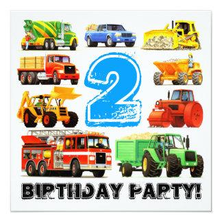 Custom Kid's 2nd Birthday Construction Truck Party 13 Cm X 13 Cm Square Invitation Card
