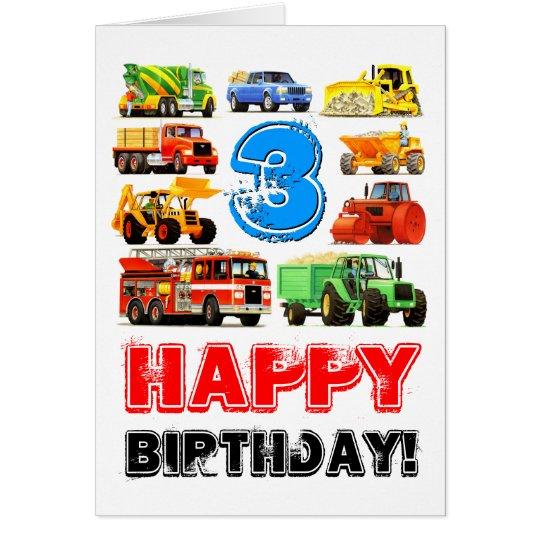 Custom Kids 3rd Birthday Construction Truck Card