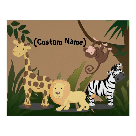 Custom Kids Baby Name JungleZoo Wall Art Poster