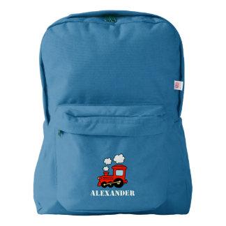 Custom kids backpack with red toy choo choo train
