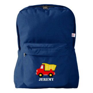 Custom kids backpack with red toy dump truck image