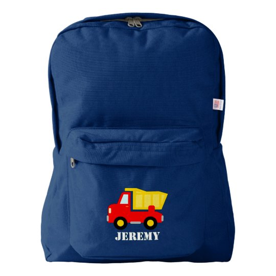 Custom kids backpack with red toy dump truck