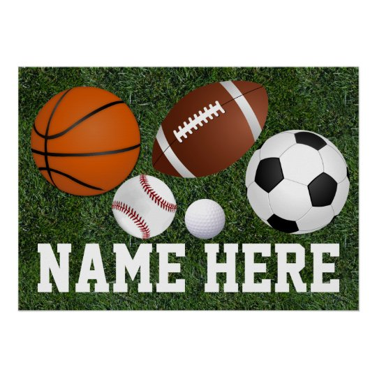 Custom Kids Boys Name Multi Sports Wall Art
