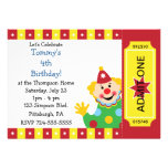 Custom Kids Clown Birthday Party Personalised Announcement