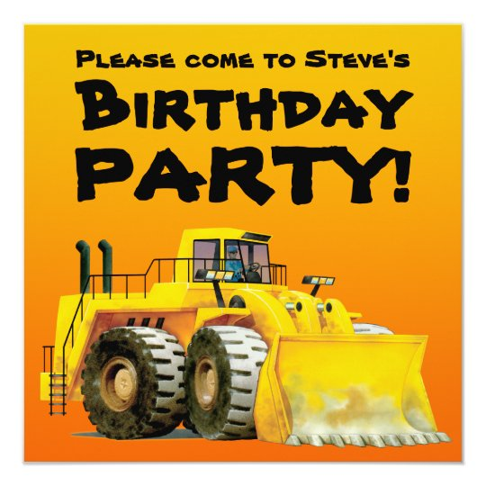 Custom Kid's Digger Party Invitations