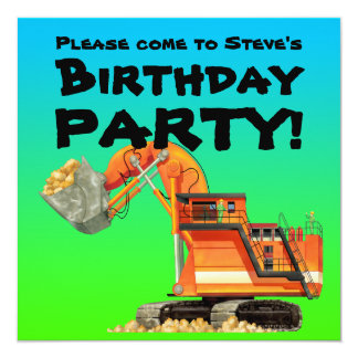 Custom Kids Excavator Construction Party Card