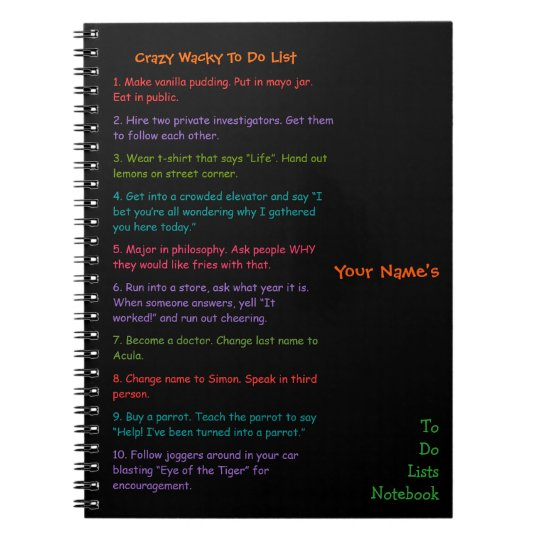 Custom Kids Funny Crazy Wacky To Do Lists