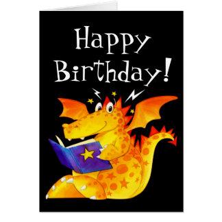 Custom Kid's Funny Cute Baby Dragon Happy Birthday Card