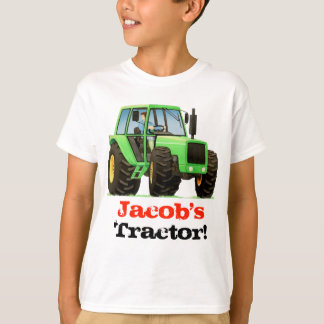 Custom Kids Name Big Green Farm Tractor T-Shirt