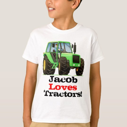Custom Kids Name Love Tractors and Farming T-Shirt