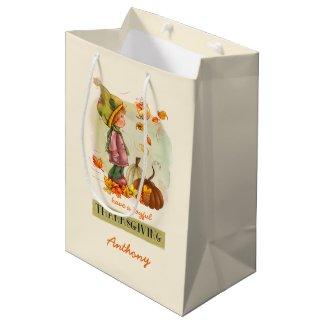 Custom Kid's Name Thanksgiving Gift Bags Medium Gift Bag