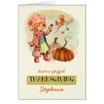 Custom Kid's Name Thanksgiving Greeting Cards