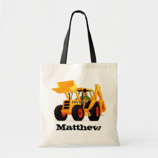 Custom Kid's Name Yellow Digger Budget Tote Bag